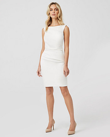 Stretch Ponte Knit Boat Neck Dress