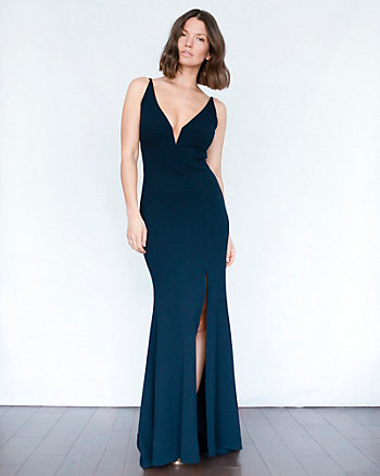 Knit Crêpe V-Neck Gown