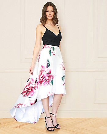 Floral Print Satin V-Neck High-Low Gown