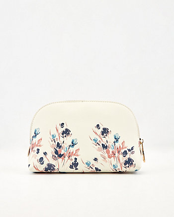 Floral Print Faux Leather Cosmetic Pouch