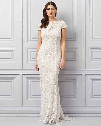 Corded Lace Illusion Gown