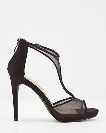 Mesh & Faux Suede T-Strap Platform Sandal