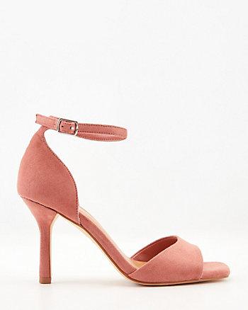 Faux Suede Square Toe Ankle Strap Sandal