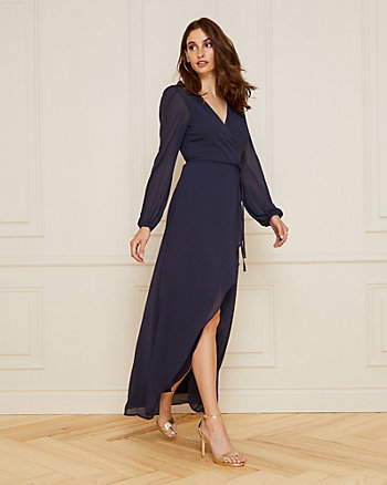 Crêpe Chiffon V-Neck High-Low Gown
