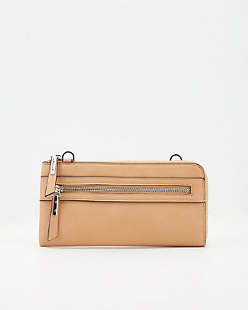 Faux Leather Crossbody Wallet