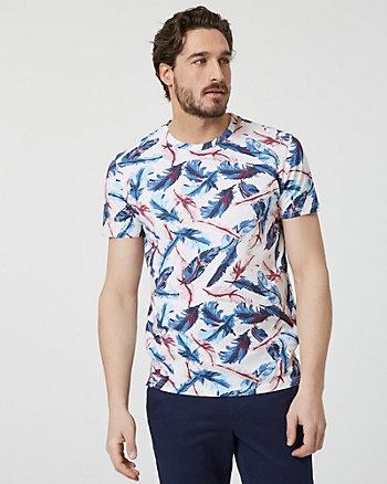 T-shirt à motif de plumes en coton