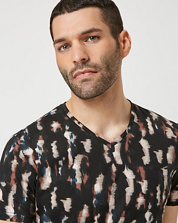 Abstract Print Cotton V-Neck T-Shirt