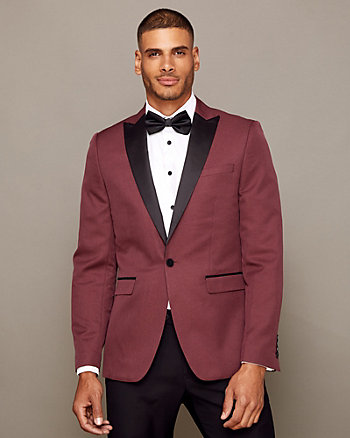 Mechanical Stretch Peak Lapel Blazer