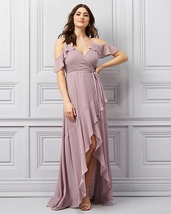Chiffon V-Neck Cold Shoulder Gown
