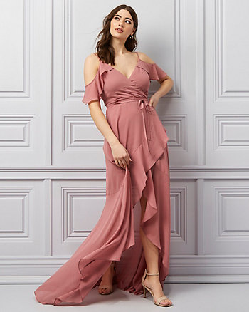 Chiffon V-Neck Cold Shoulder Gown