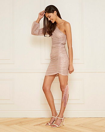 Metallic Knit One-Shoulder Dress