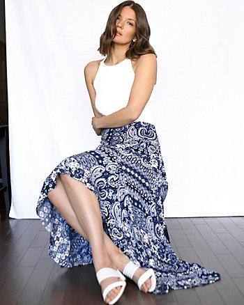 Scarf Print Viscose Crêpe Skirt