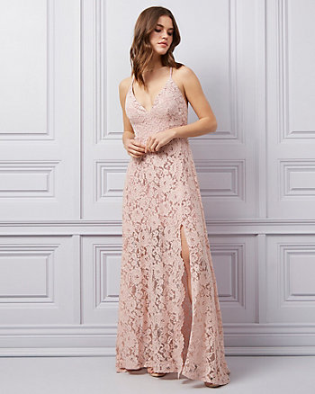 Corded Lace V-Neck Flowy Gown