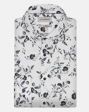 Floral Print Cotton Blend Shirt