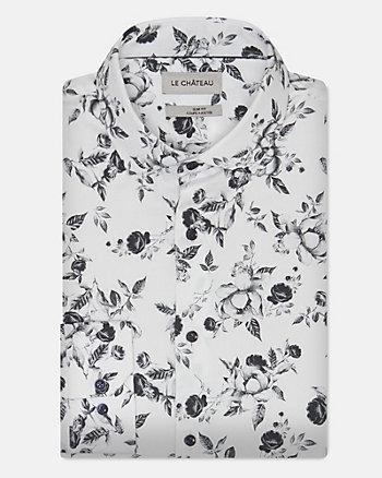 Chemise à motif floral en mélange de coton