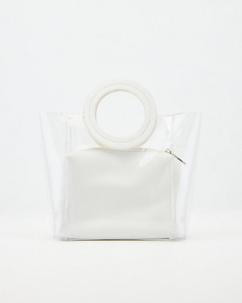 Faux Leather Pouch & Transparent Tote