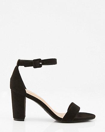Faux Suede Block Heel Sandal