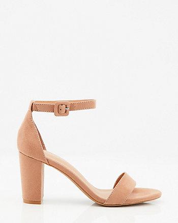 Sandale en suédine à talon bloc