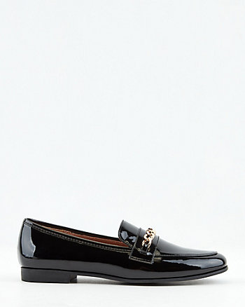 Patent Faux Leather Almond Toe Loafer