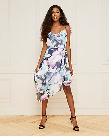 Floral Print Cowl Neck Chiffon Dress