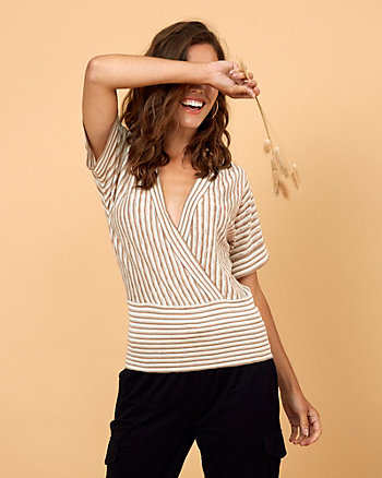 Stripe Cotton Blend V-Neck Top