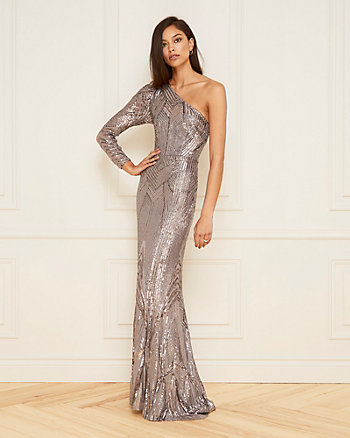 Embroidered Sequin One Shoulder Gown