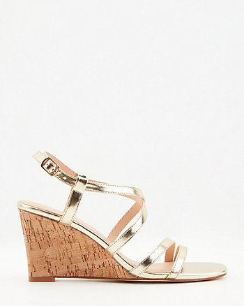 Metallic Faux Leather Wedge Sandal