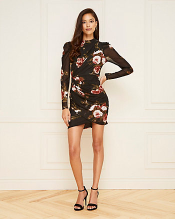 Floral Print Mesh Wrap-Like Dress