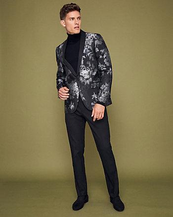 Floral Print Jacquard Shawl Collar Blazer