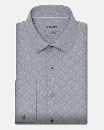 Floral Print Cotton Blend Tailored Fit Shirt