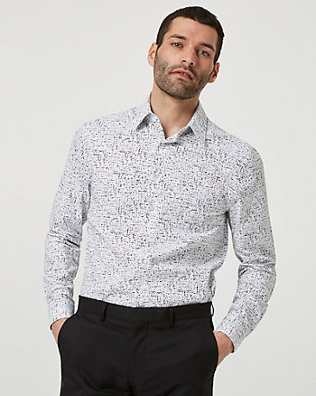 Abstract Print Cotton Blend Slim Fit Shirt