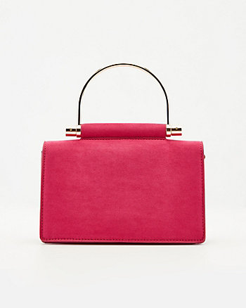 Faux Suede Top Handle Crossbody Clutch