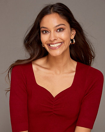 Viscose Blend Sweetheart Neck Sweater