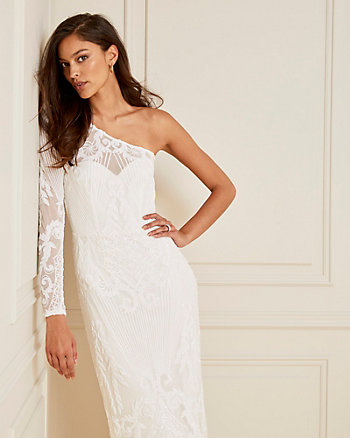 Embroidered Sequin & Mesh One Shoulder Gown