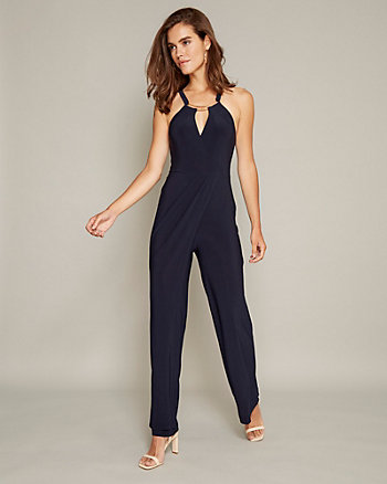 Knit Halter Neck Wide Leg Jumpsuit