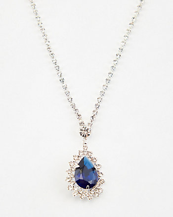 Gem Encrusted Tear Drop Necklace