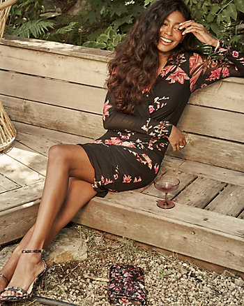 Floral Knit V-Neck Wrap-Like Dress