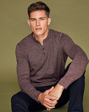Two-Tone Cotton Blend Henley Sweater