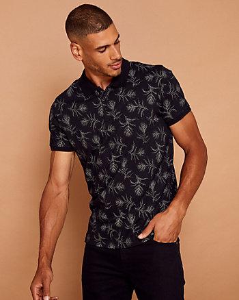 Feather Print Cotton Polo Shirt