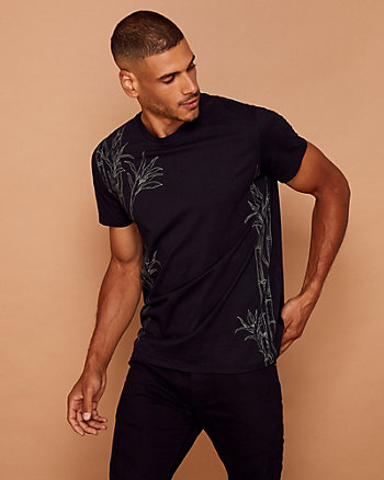 Bamboo Print Cotton Crew Neck T-Shirt