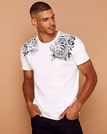 Snake Print Cotton Crew Neck T-Shirt