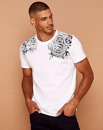 T-shirt à motif de serpent en coton
