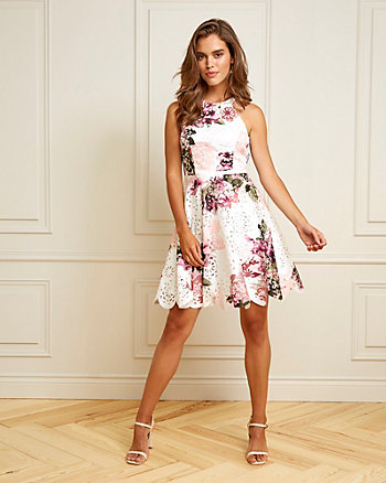 Floral Print Knit Halter Neck Dress
