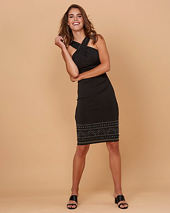 Beaded Knit Halter Neck Dress