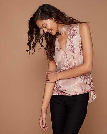 Floral Print Sparkle Knit Mock Neck Top