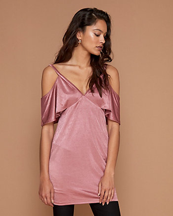 Satin V-Neck Tunic Top