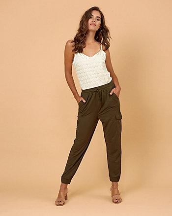Piqué Knit Drawstring Track Pant