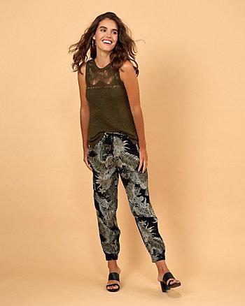 Pantalon à motif floral en viscose