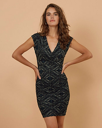 Geo Print Lace V-Neck Dress