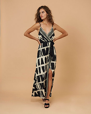 Abstract Print V-Neck Maxi Dress